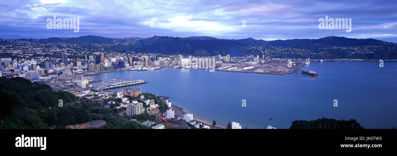 Neuseeland, Nordinsel, Wellington,  Stadtansicht, Skyline, Hafen  New Zealand, North Island, Pazifik, Pazifischer - Stock Image