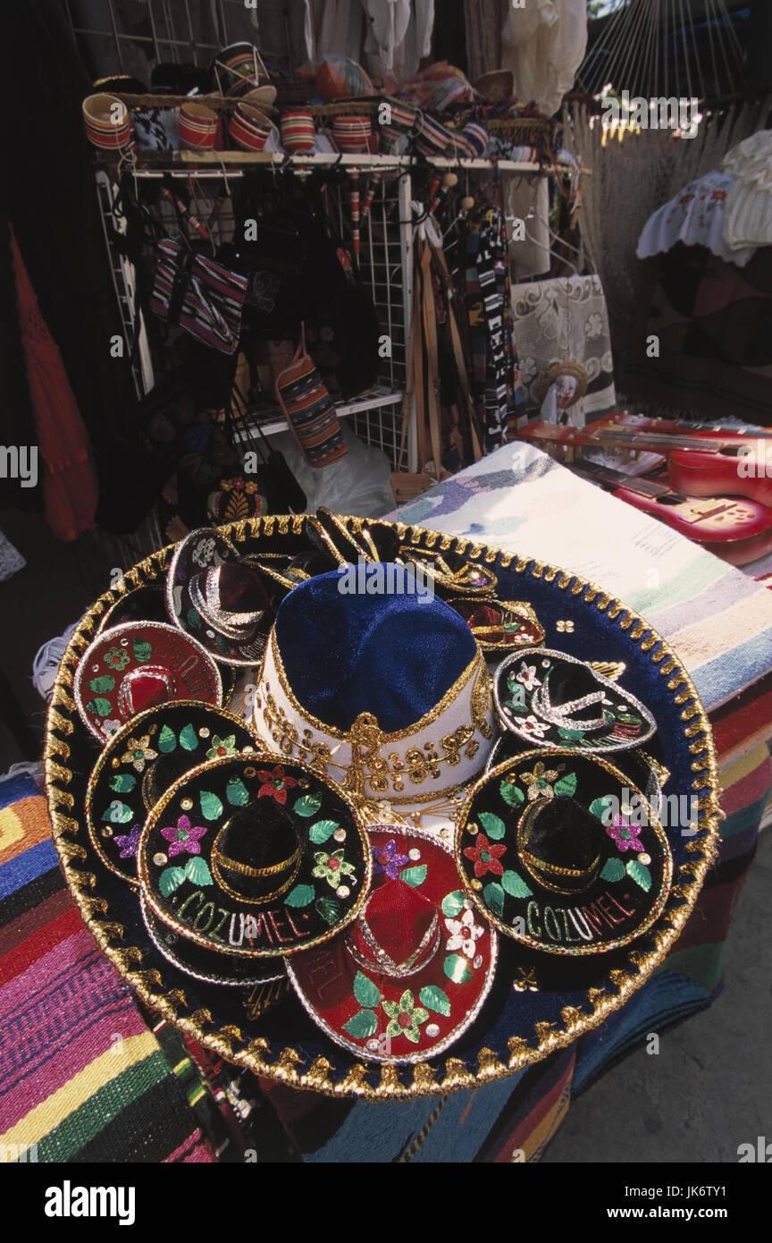 Mexiko, Quintana Roo, Cancun,  Verkauf, Sombreros, bestickt  Mittelamerika, Souvenirverkauf, Kopfbedeckungen,  Hüte, - Stock Image