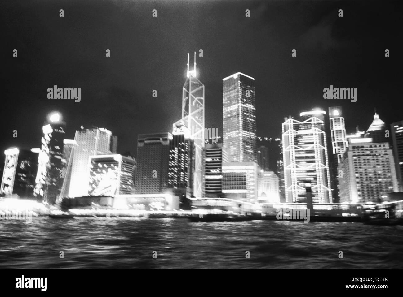 China, Hongkong, Stadtansicht, Skyline,  Nacht, s/w  außen, Asien, Ost-Asien, Hong Kong, Xianggang, Hsiangkang, - Stock Image