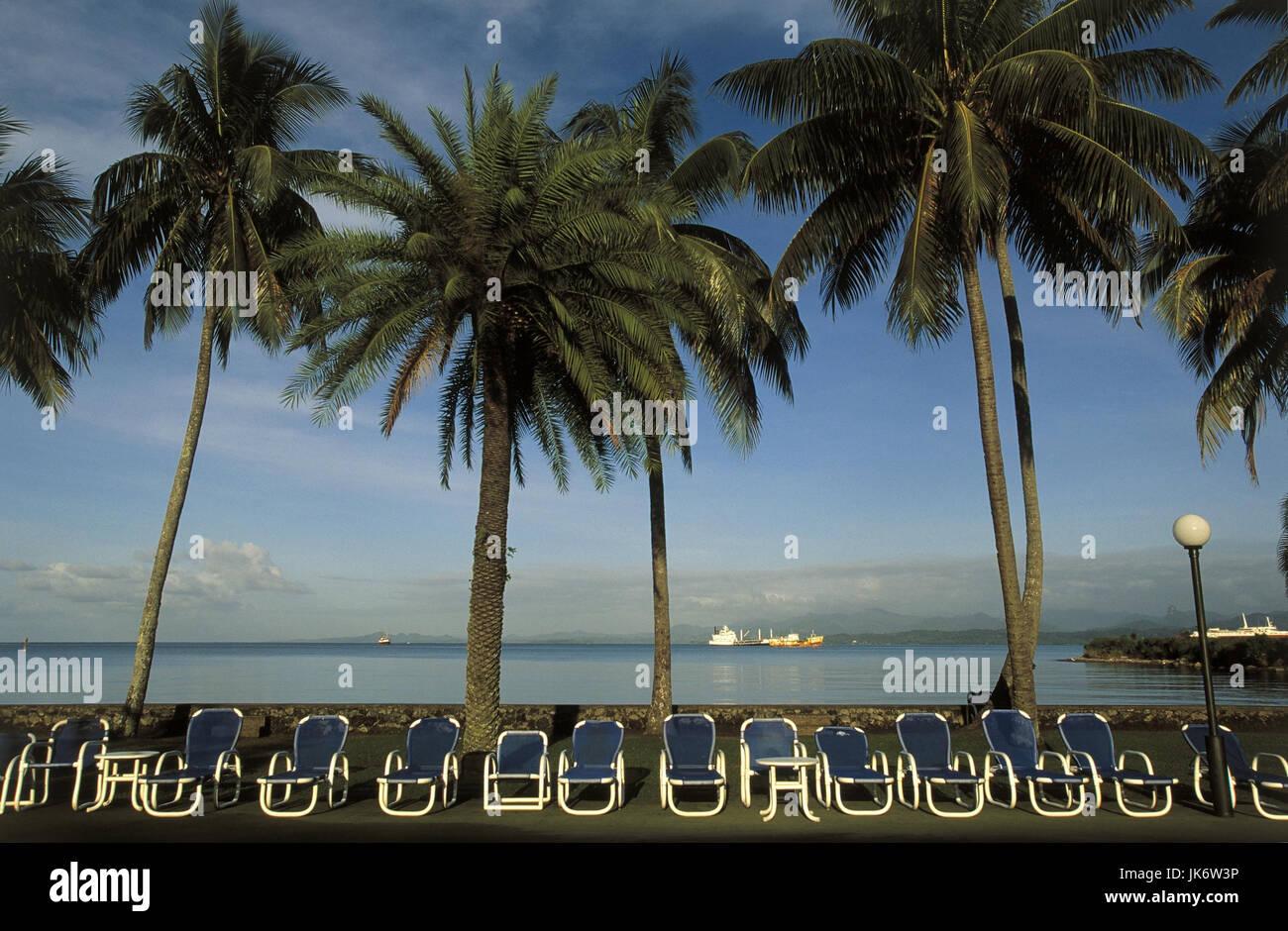 Fidschi Inseln, Viti Levu, Suva, Hotelstrand, Blick, Meer  Südsee, Insel, Strand, Liegewiese, Liegestühle,  Tourismus, Stock Photo