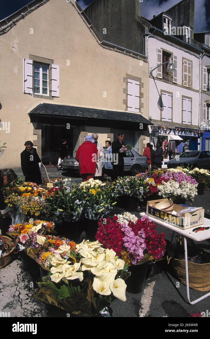 Frankreich, Bretagne, Douarnenez,  Wochenmarkt, Verkauf, Blumen no model release, Europa, Markt, Pflanzen, Schnittblumen, - Stock Image