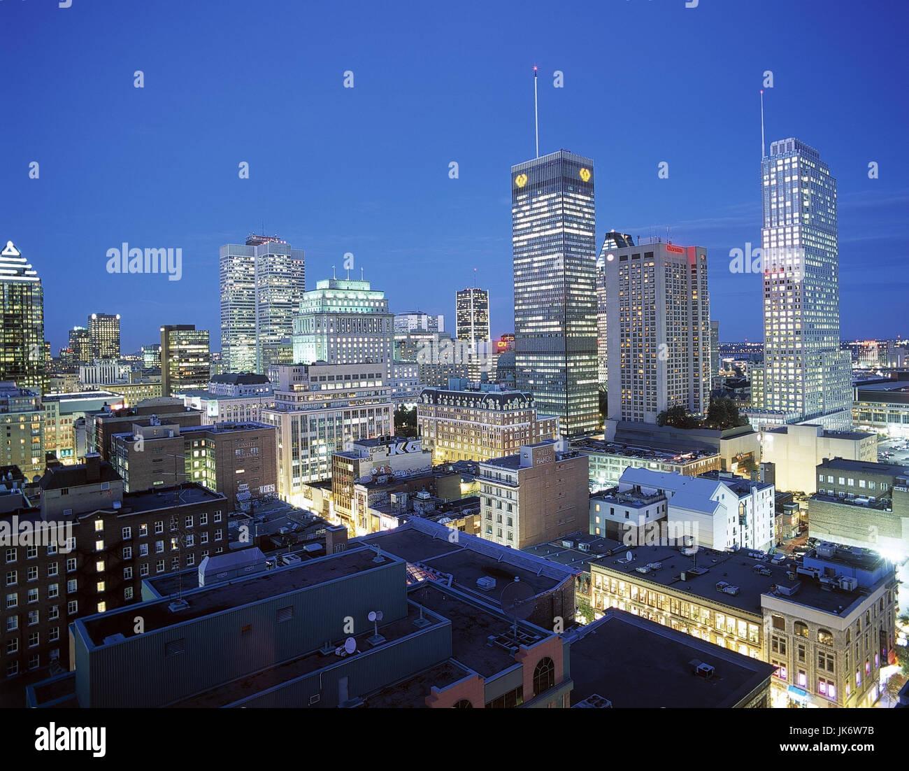 Kanada, Provinz Quebec, Montreal,  Stadtansicht, Dämmerung  Canada, Häuser, Gebäude, Hochhäuser, Wolkenkratzer, Stock Photo