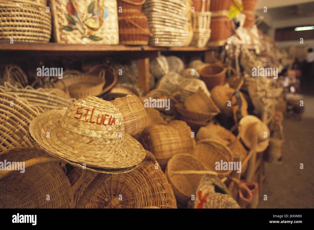 Karibik, Kleine Antillen, Saint Lucia,  Castries, Castries Market, Verkauf,  Strohhüte, Korbwaren Mittelamerika, - Stock Image