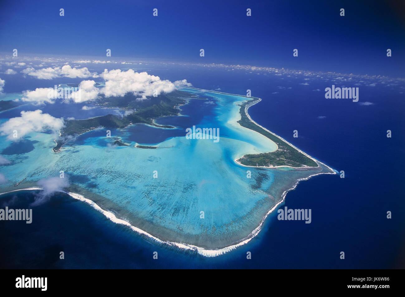Französisch-Polynesien, Bora Bora,  Riff, Luftaufnahme  Südsee, Südpazifik, Pazifik, Pazifischer - Stock Image