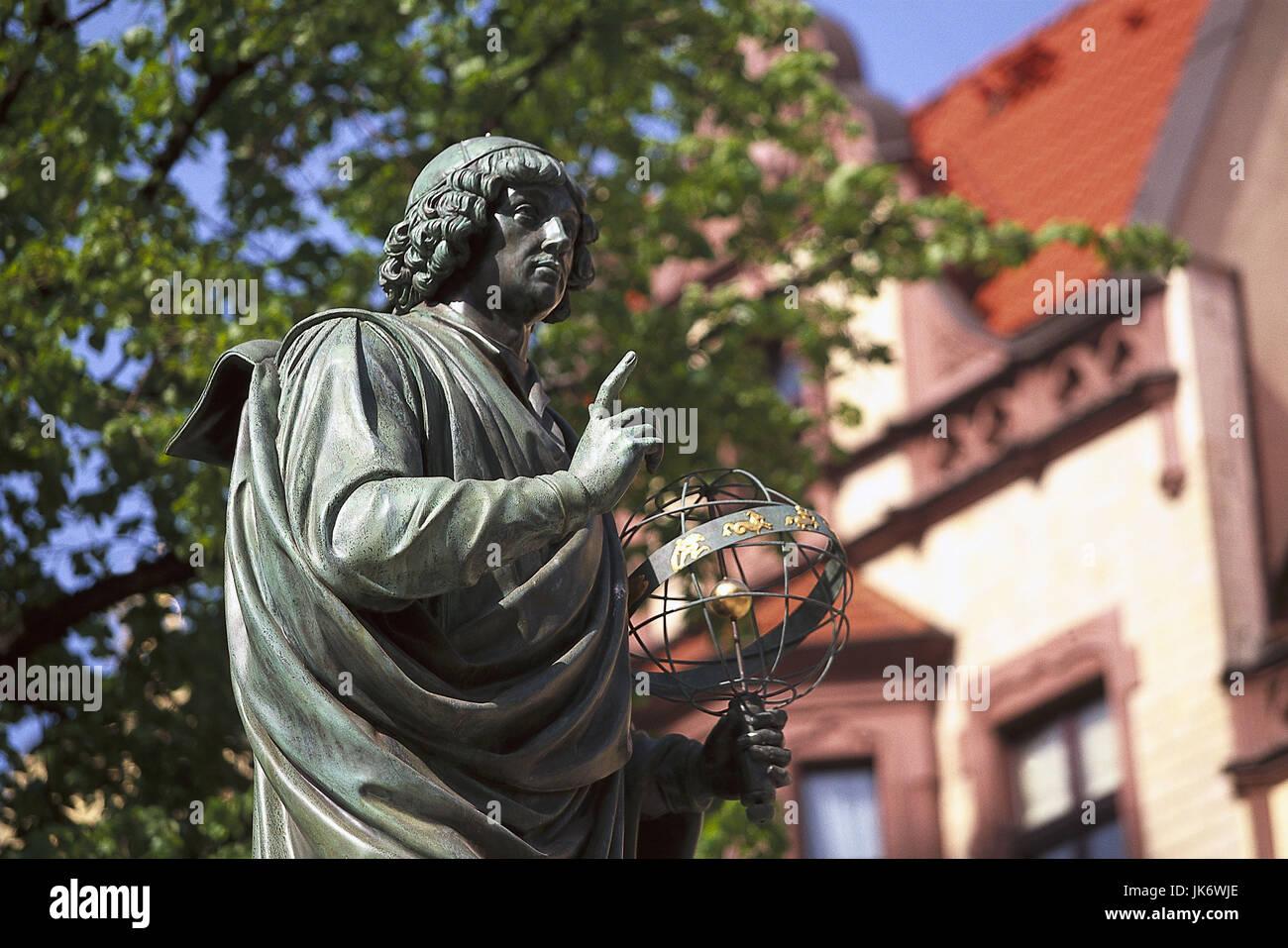 Polen, Kujawien-Pommern, Torun,  Rynek Starmojeski Platz,  Kopernicus-Statue Europa, Osteuropa, Rzeczpospolita Polska, - Stock Image