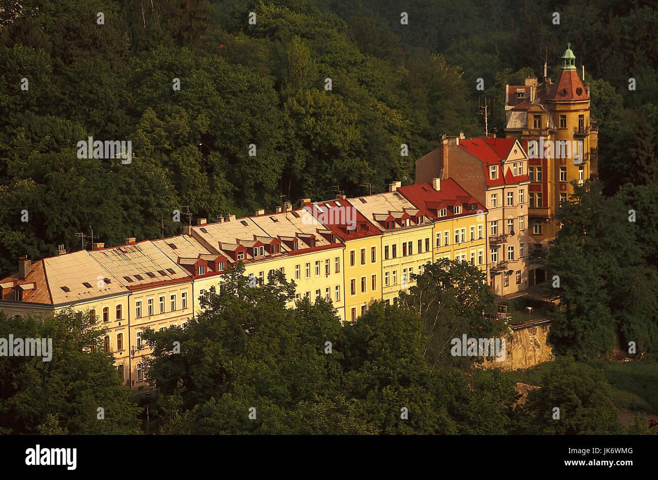 Tschechische Republik, Westböhmen,  Karlovy Vary, Stadtansicht  Europa, Osteuropa, Tschechien, Ceská Republika, - Stock Image
