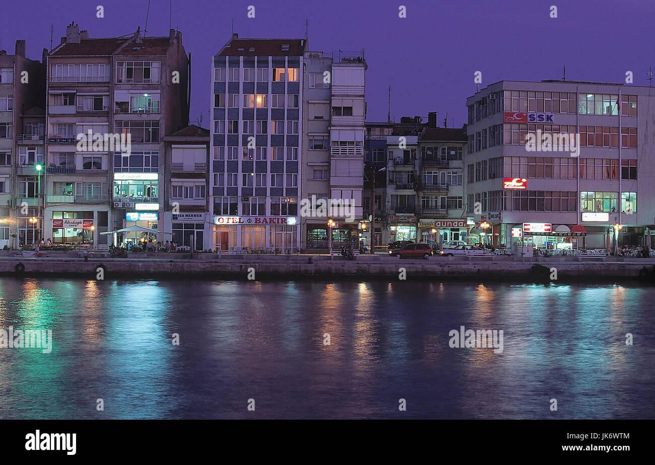 Türkei, Dardanellen, Canakkale,  Stadtansicht, Hafengebiet, Abend  Marmaragebiet, Meerenge, Canakkale Bogazi, Hafen,, Stock Photo