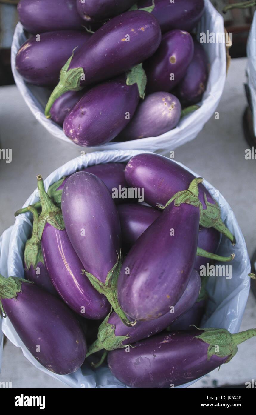Kanada, Quebec, Montreal, Markt,  Verkauf, Auberginen,  Solanum melongena Gemüse, Eierfrüchte, Nachtschattengewächse, - Stock Image