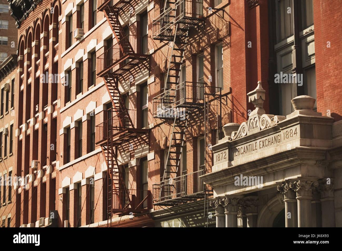 USA, New York City, Manhattan,  Harrison Street, Tribeca-Loft Buildings, New York Mercantile Exchange Building, - Stock Image