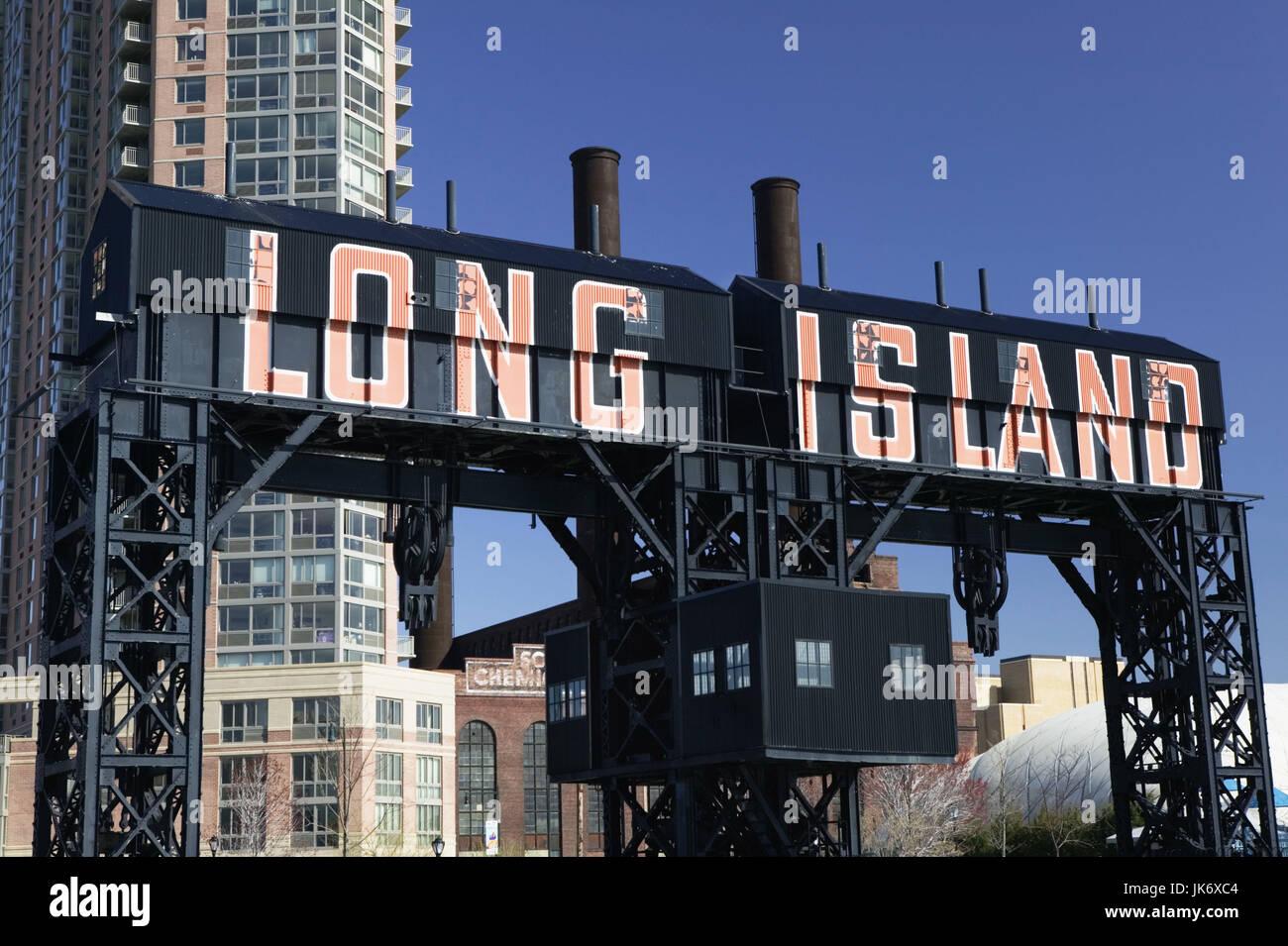 USA, New York City, Queens, Long  Island City, Fährhafen, Landekran, Detail Amerika, Nordamerika, Großstadt, - Stock Image
