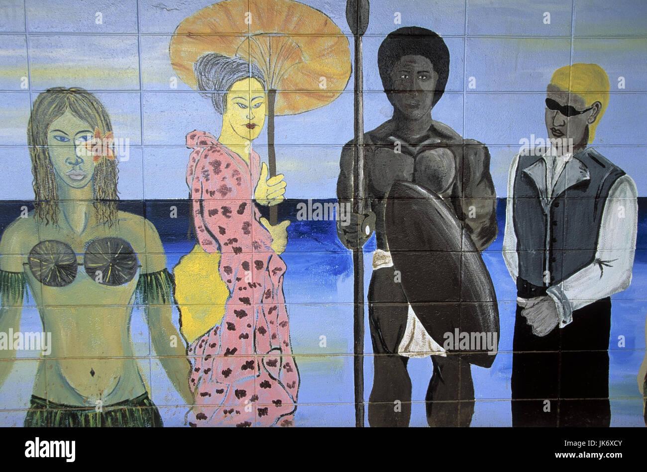 Fidschi Inseln, Viti Levu, Suva,  Mauer, bemalt, Personen,  Nationalitäten, verschieden Südsee, Insel, Wand, Malerei, Stock Photo