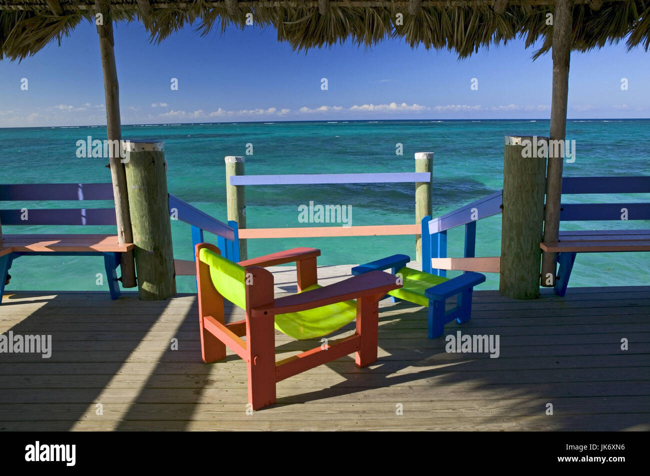 Bahamas Ozean Steg Stuhle Bunt Aussicht Stock Photo Alamy