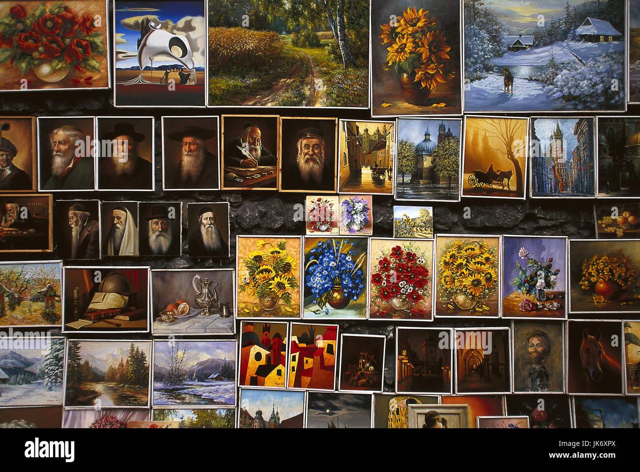 Polen, Krakow, Verkauf, Miniaturgemälde,  Detail  Europa,  Rzeczpospolita Polska, Kleinpolen, Gebietshauptstadt, - Stock Image