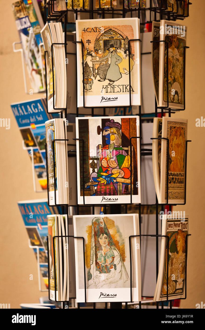 Spain, Andalucia Region, Malaga Province, Malaga, postcards outside the Picasso Museum - Stock Image