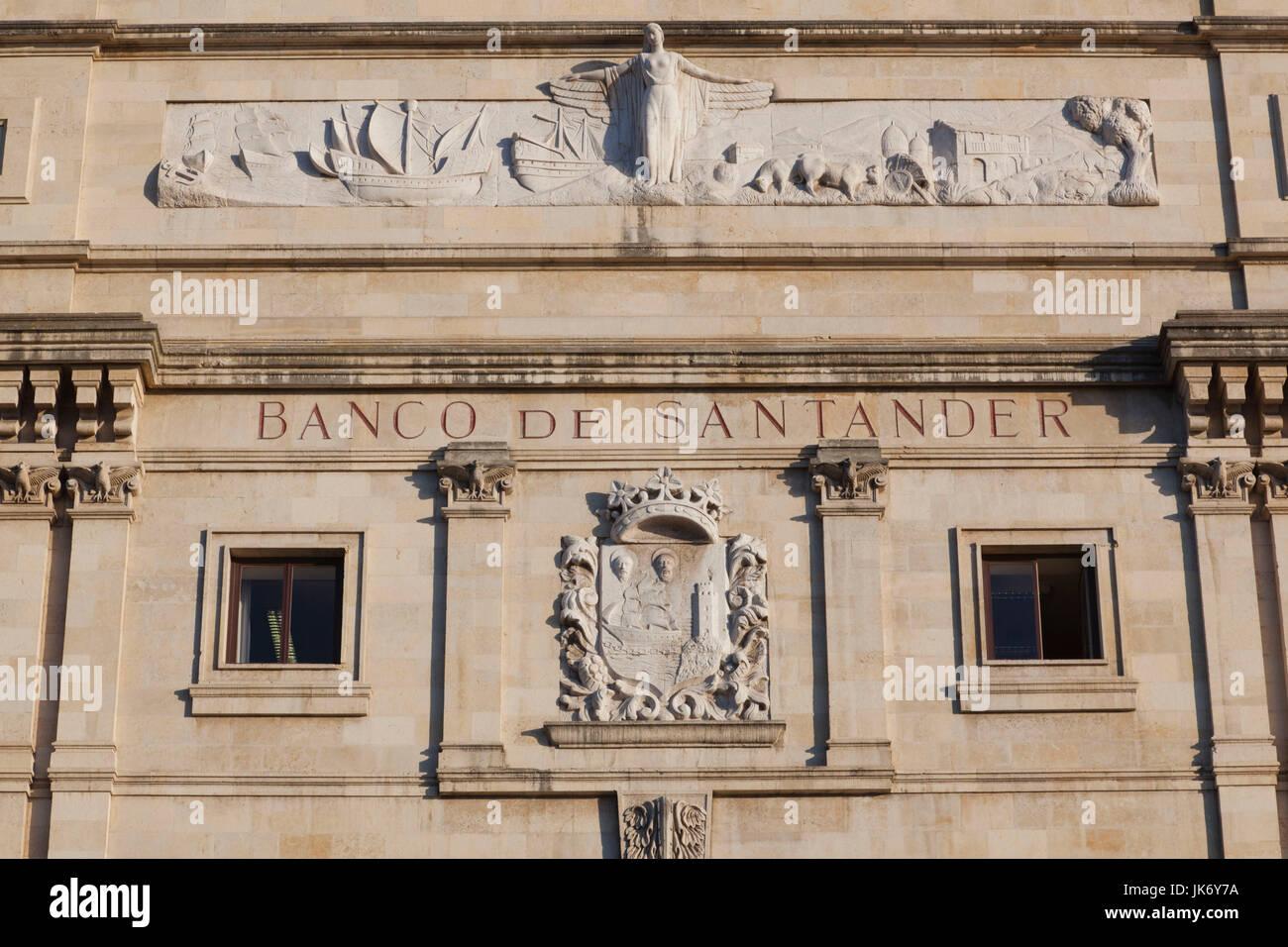 Spain, Cantabria Region, Cantabria Province, Santander, detail of the original Banco de Santander building, largest Stock Photo