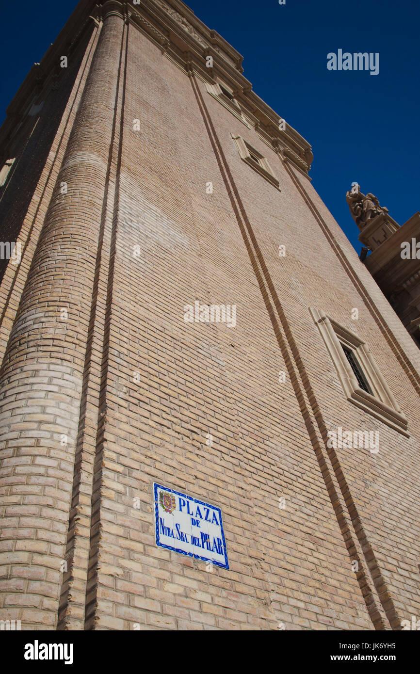 Spain, Aragon Region, Zaragoza Province, Zaragoza, Plaza del Pilar, sign - Stock Image