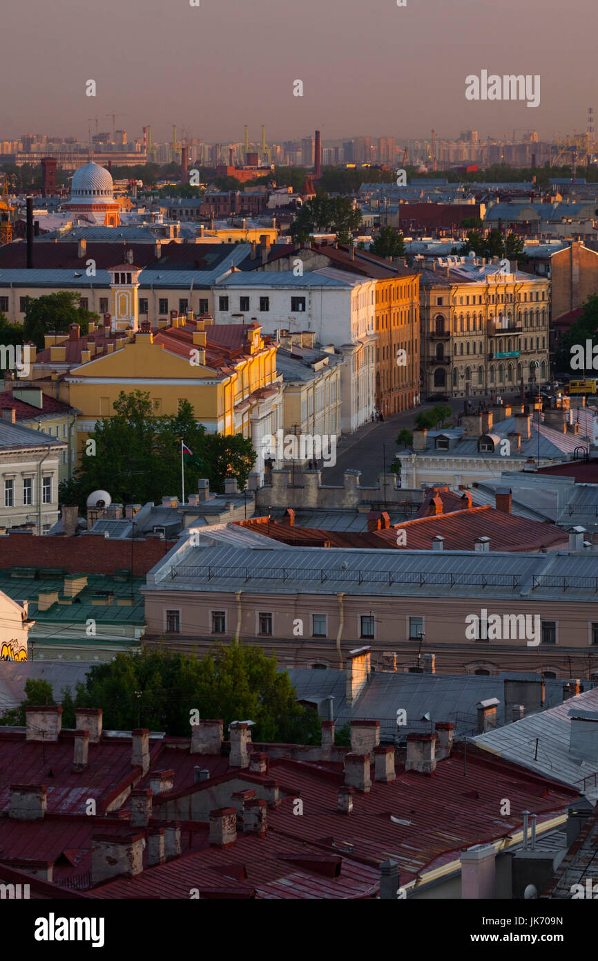 Russia, Saint Petersburg, Center, elevated city view from Saint Isaac Cathedral, dusk - Stock Image