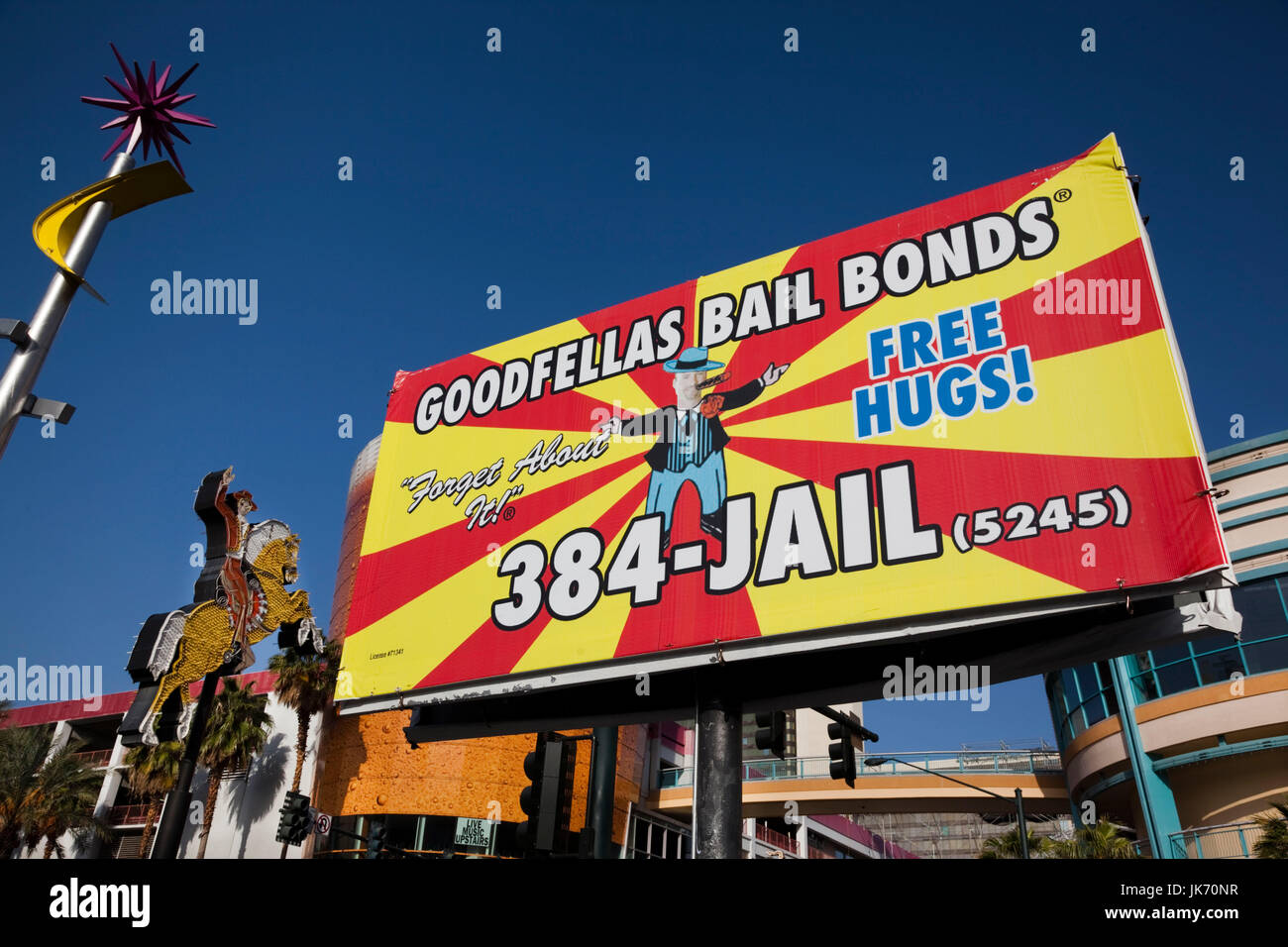 USA, Nevada, Las Vegas, Downtown, Fremont Street East, sign for bail bonds service - Stock Image