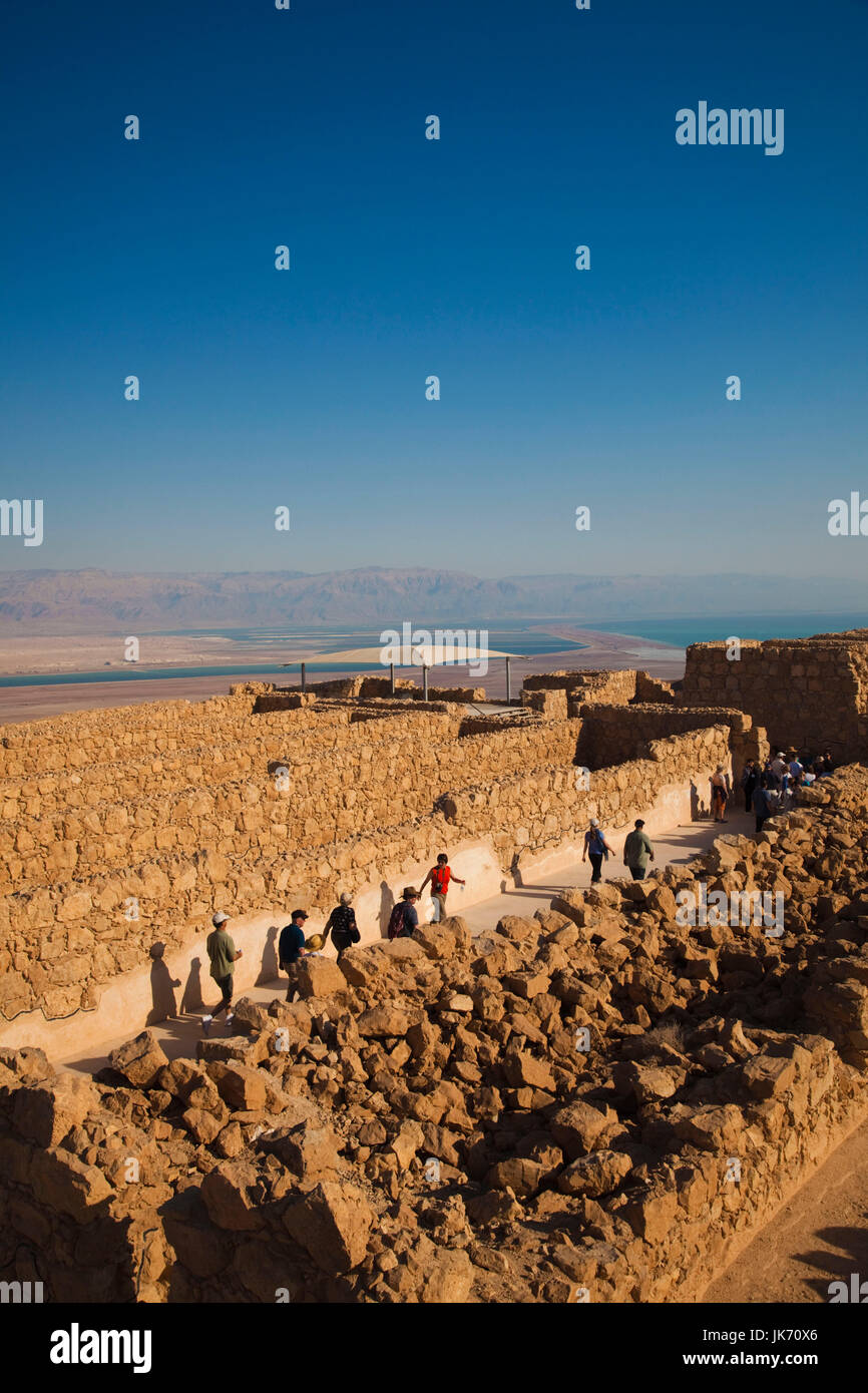 Israel, Dead Sea, Masada, ruins at the Masada plateau - Stock Image