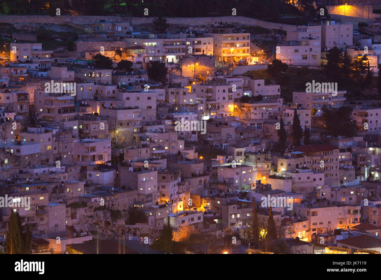 Israel, Jerusalem, Old City, elevated town view of the Kidron Valley, evening Stock Photo