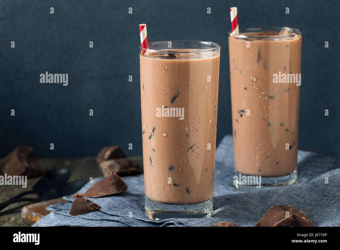 Cold Refreshing Iced Hot Chocolate Milk with Ice - Stock Image