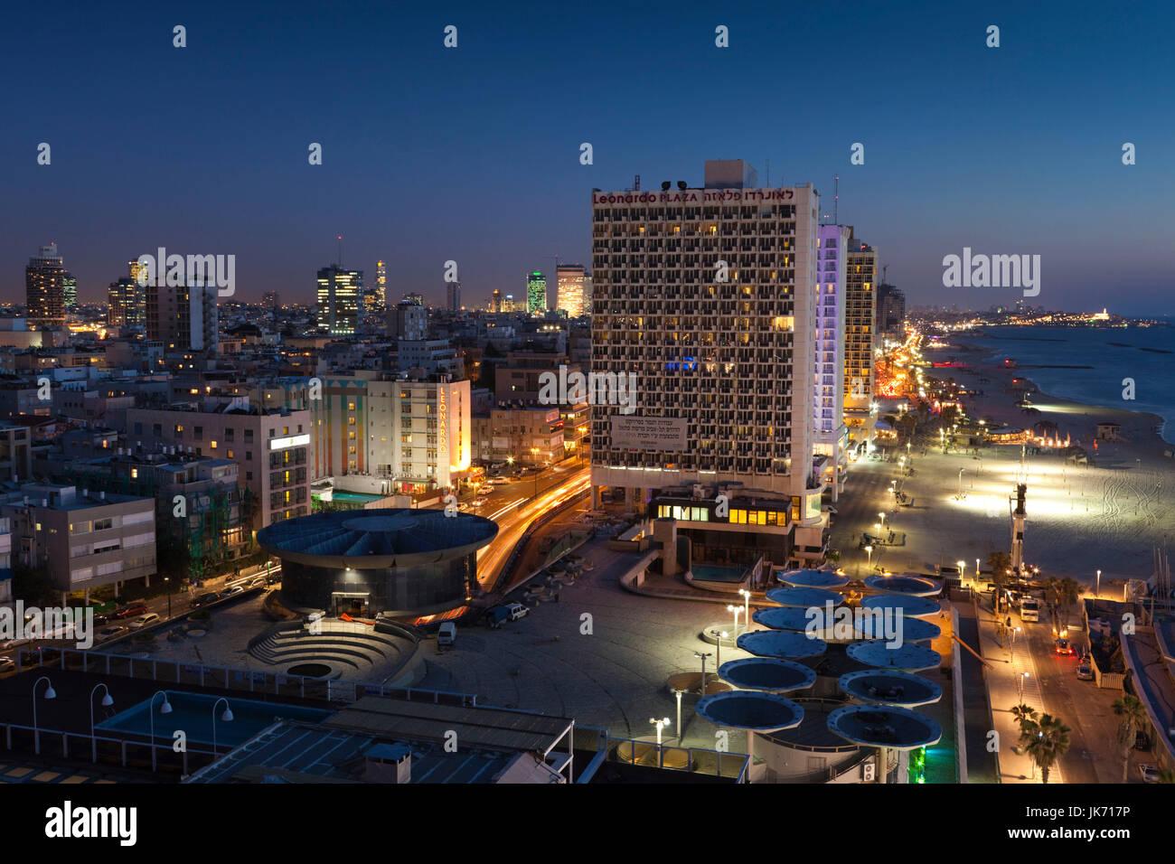 Israel, Tel Aviv, elevated beachfront view, evening Stock Photo