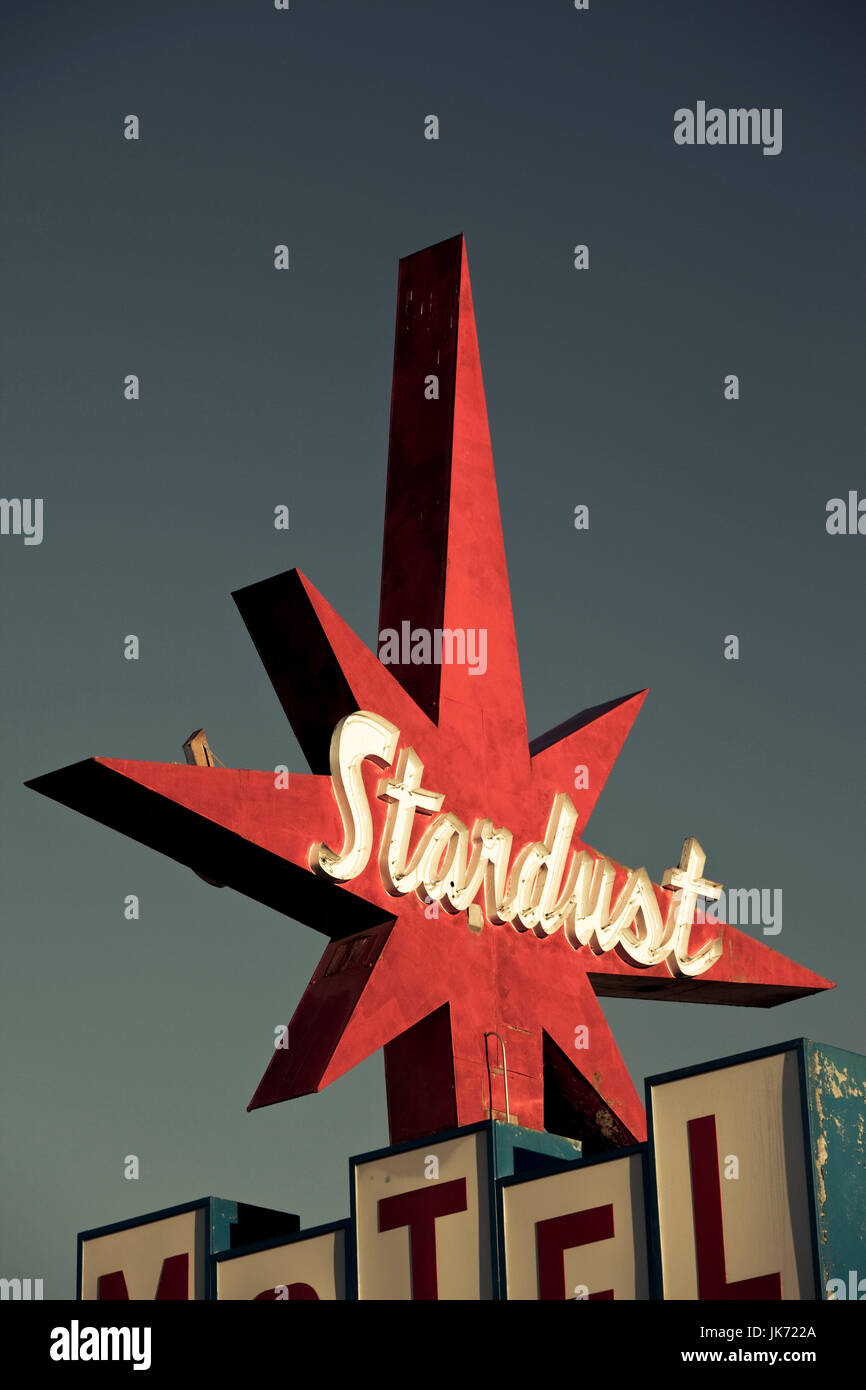 USA, California, Northern California, Northern Mountains, Redding, 1950s-era sign for the Stardust Motel - Stock Image