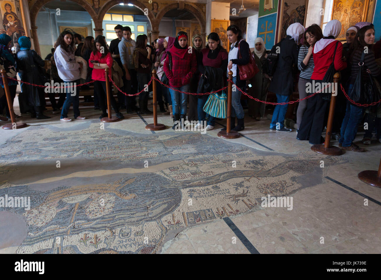 Jordan, Kings Highway, Madaba, St. Georges Church, interior with ancient Mosaic Map of the World, circa 560 AD with - Stock Image