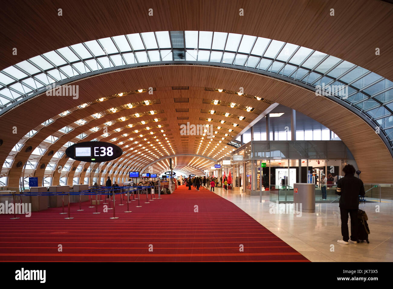 France, Paris, Aeroport Charles De Gaulle airport, Aerogare 2-Terminal E, international departure area Stock Photo