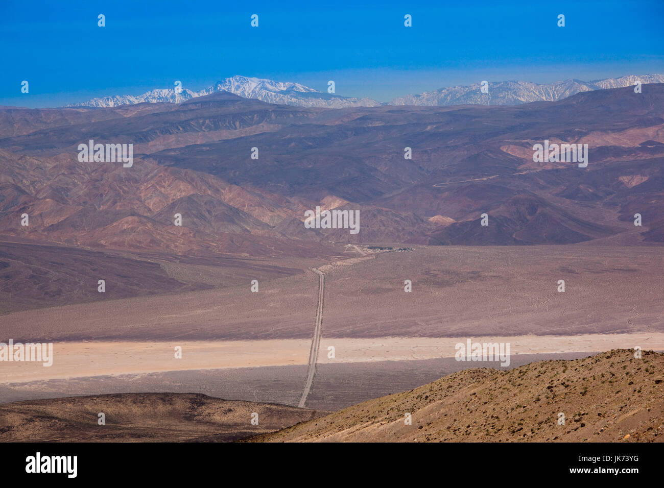 USA, California, Death Valley National Park, elevated view of Rt. 190 from Towne Pass, elevation 4956 feet Stock Photo