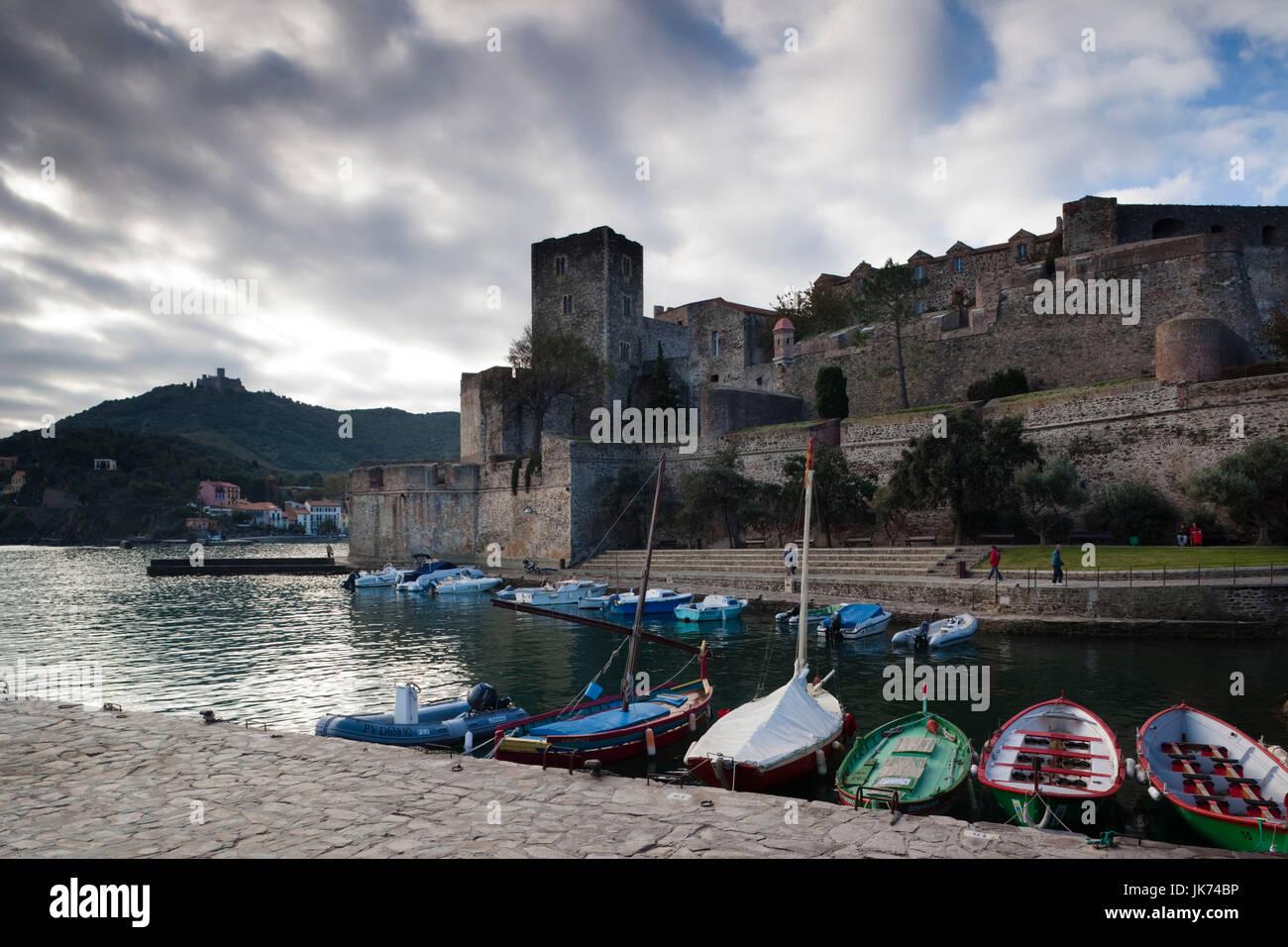 France, Languedoc-Roussillon, Pyrennes-Orientales Department, Vermillion Coast Area, Collioure, Chateau Royal Stock Photo