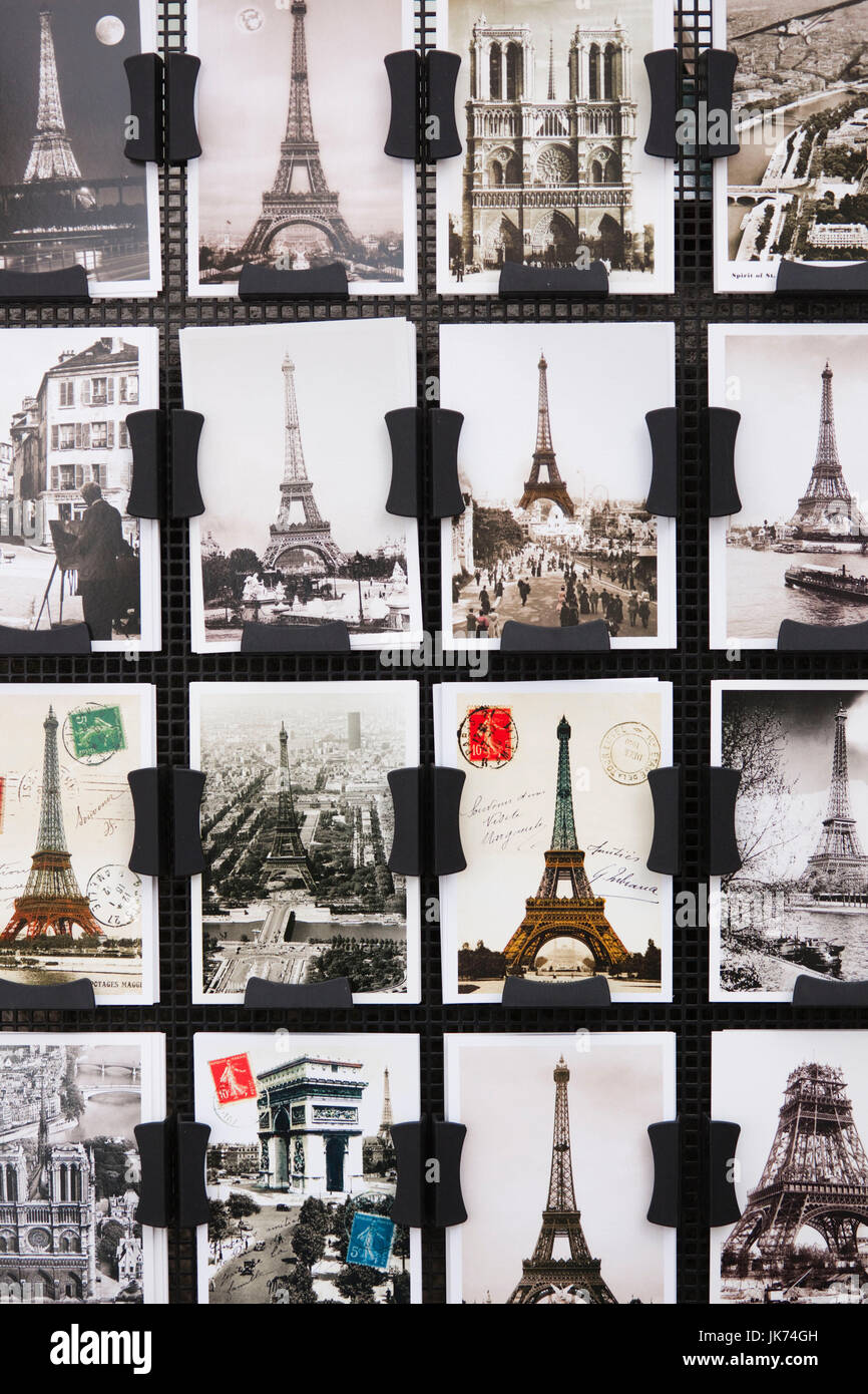 France, Paris, Left Bank, souvenir postcards - Stock Image