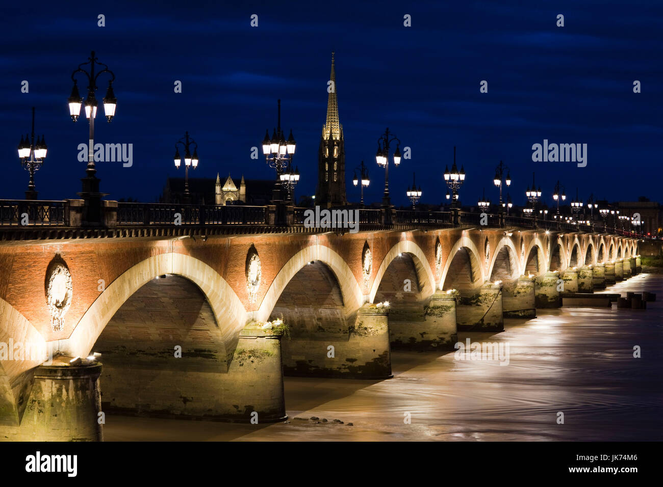 France, Aquitaine Region, Gironde Department, Bordeaux, Pont de Pierre bridge, Eglise St-Michel and Garonne River, - Stock Image