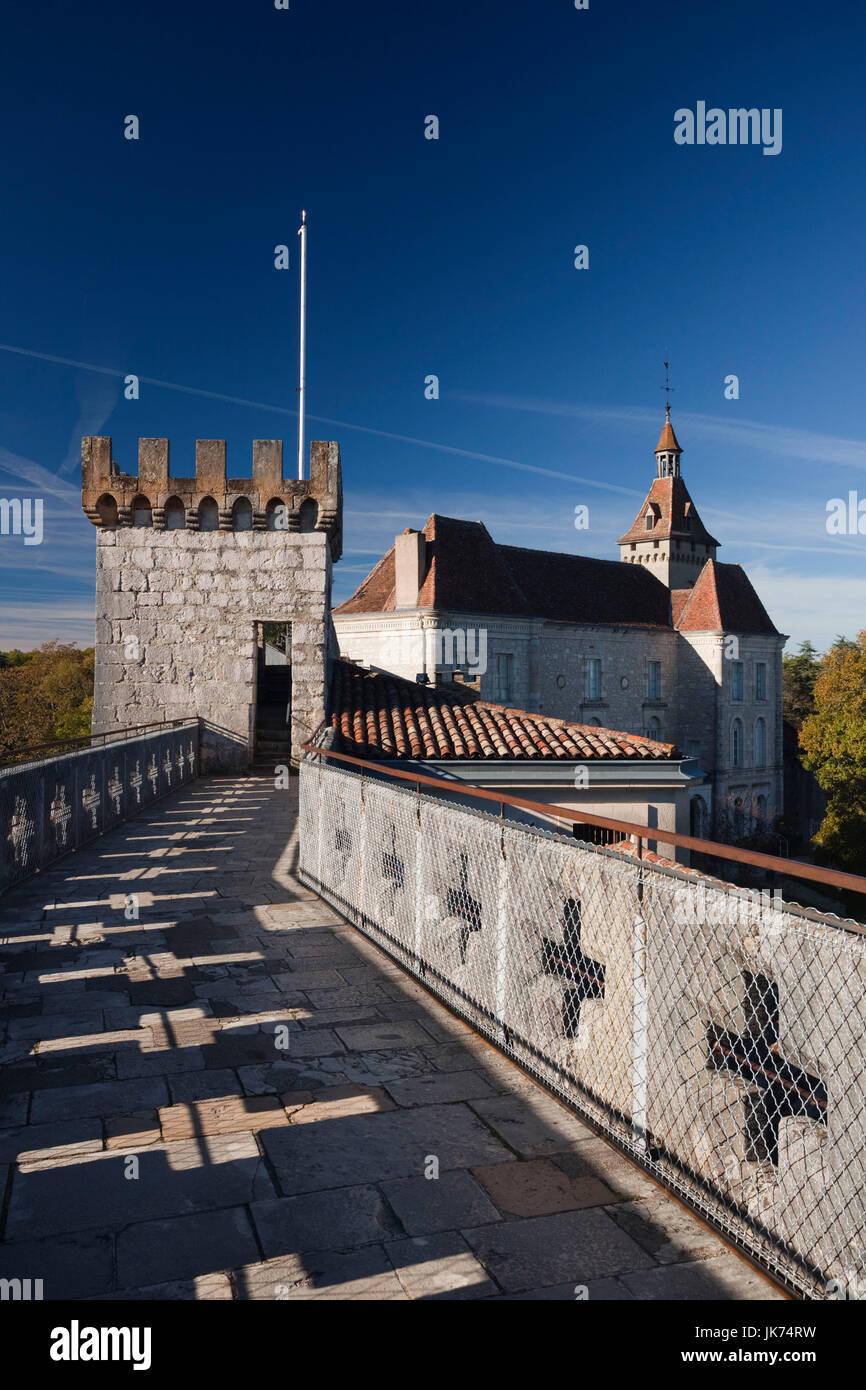 France, Midi-Pyrenees Region, Lot Department, Rocamador, chateau ramparts Stock Photo