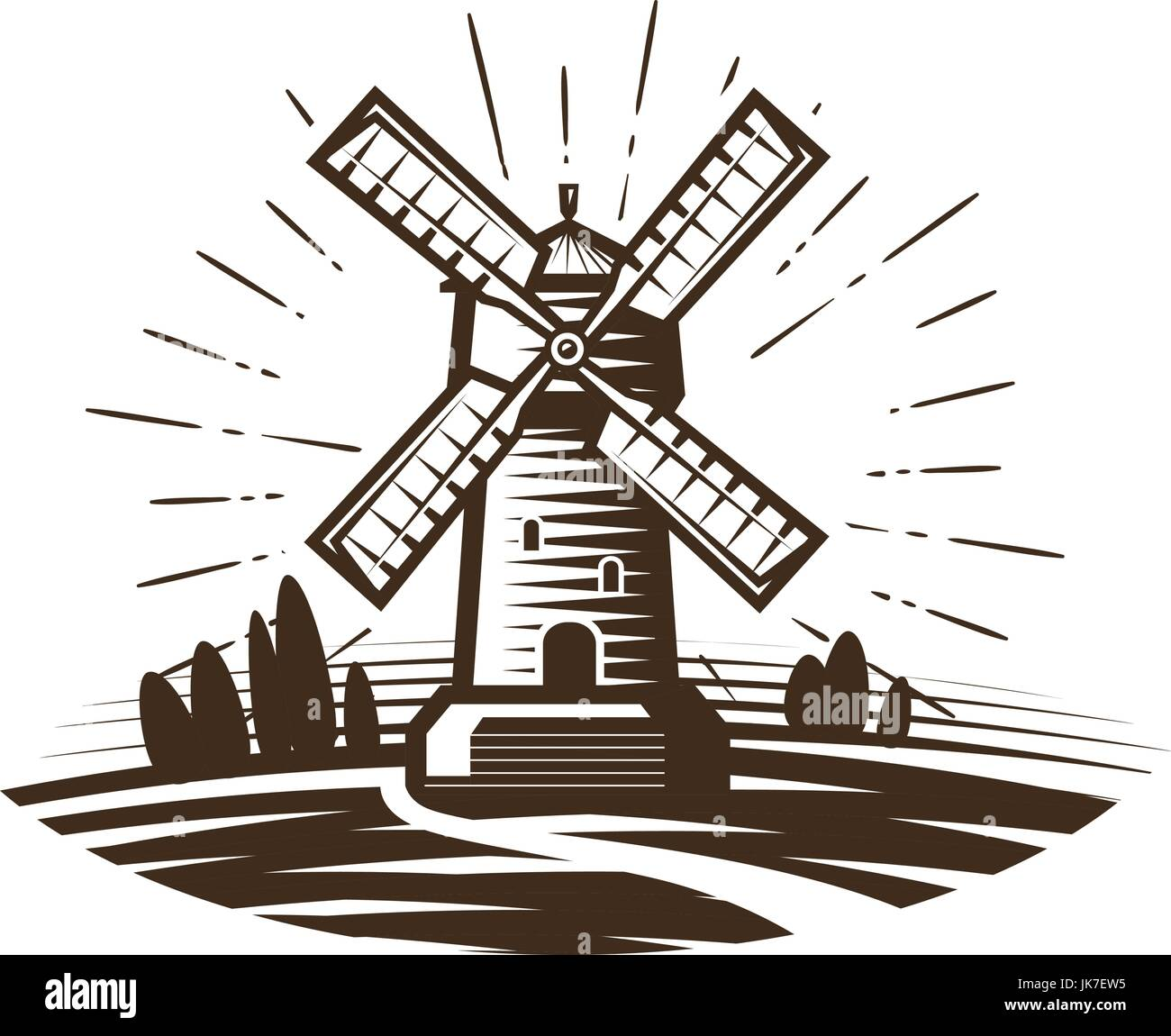 Windmill, mill logo or label. Farm, agriculture, bakery, bread icon. Vintage vector illustration - Stock Vector