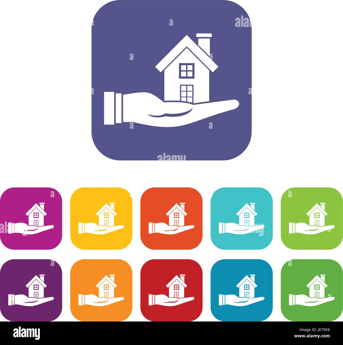 House in hand icons set - Stock Image