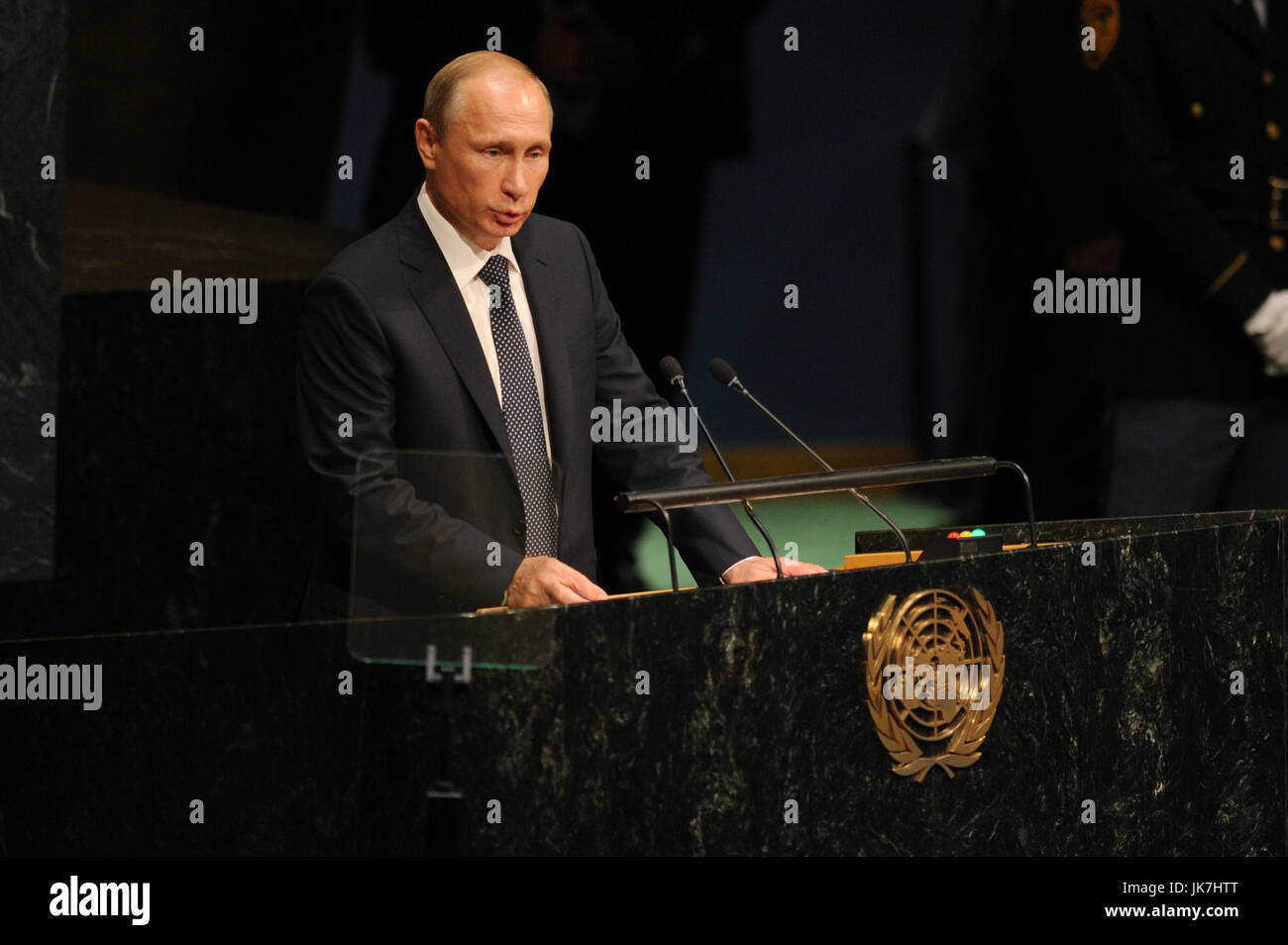 NEW YORK, NY - SEPTEMBER 28: Russian President Vladimir Putin addresses the 70th session of the United Nations General Stock Photo
