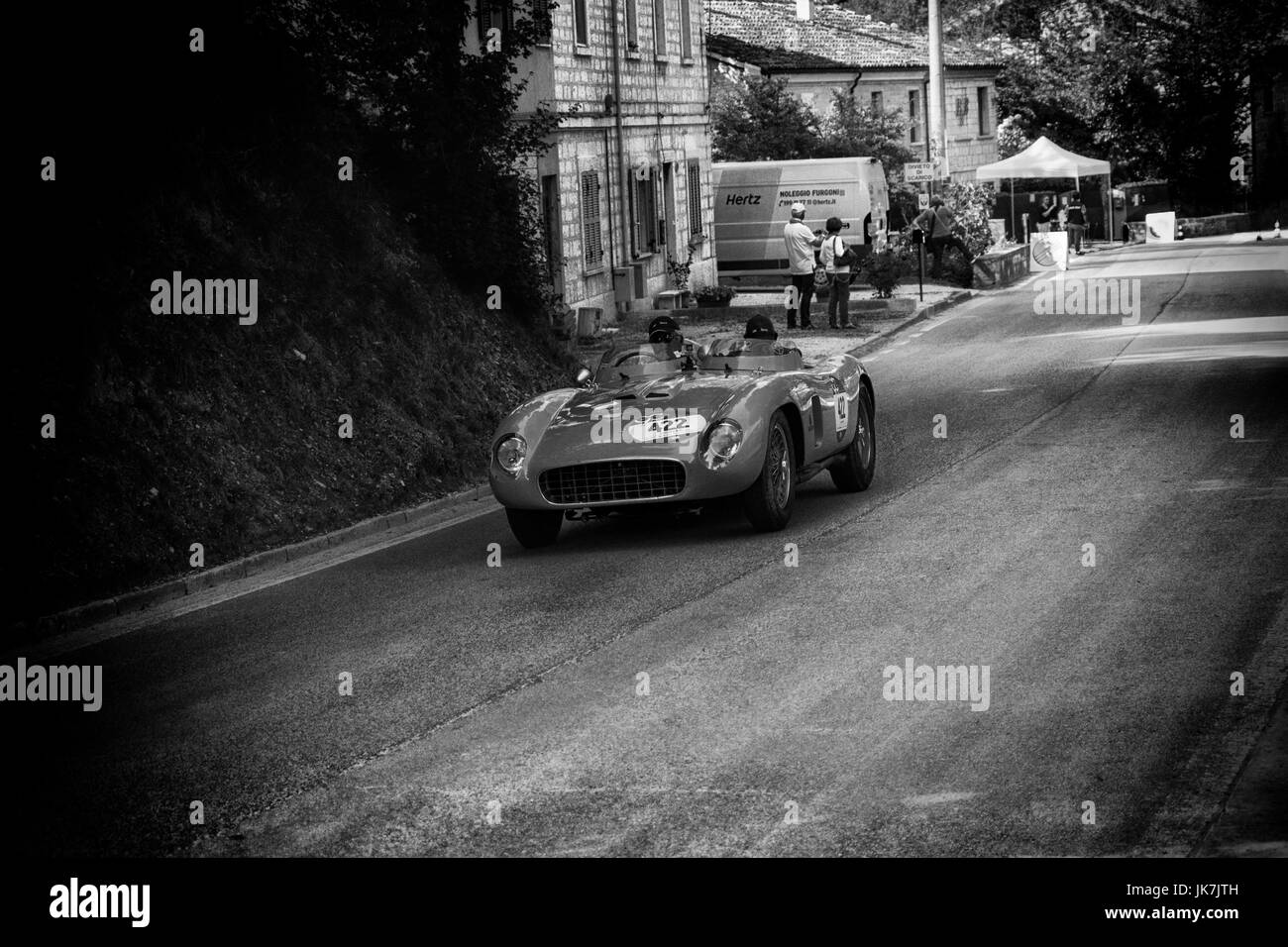 GOLA DEL FURLO, ITALY - MAY 19: FERRARI 500 TR SPIDER SCAGLIETTI 1956 in old racing car in rally Mille Miglia 2017 - Stock Image
