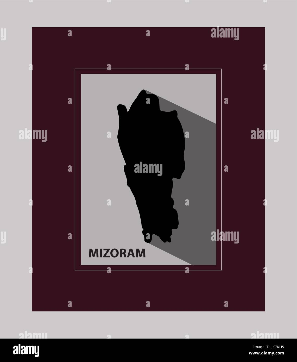 The state of Mizoram - Stock Vector