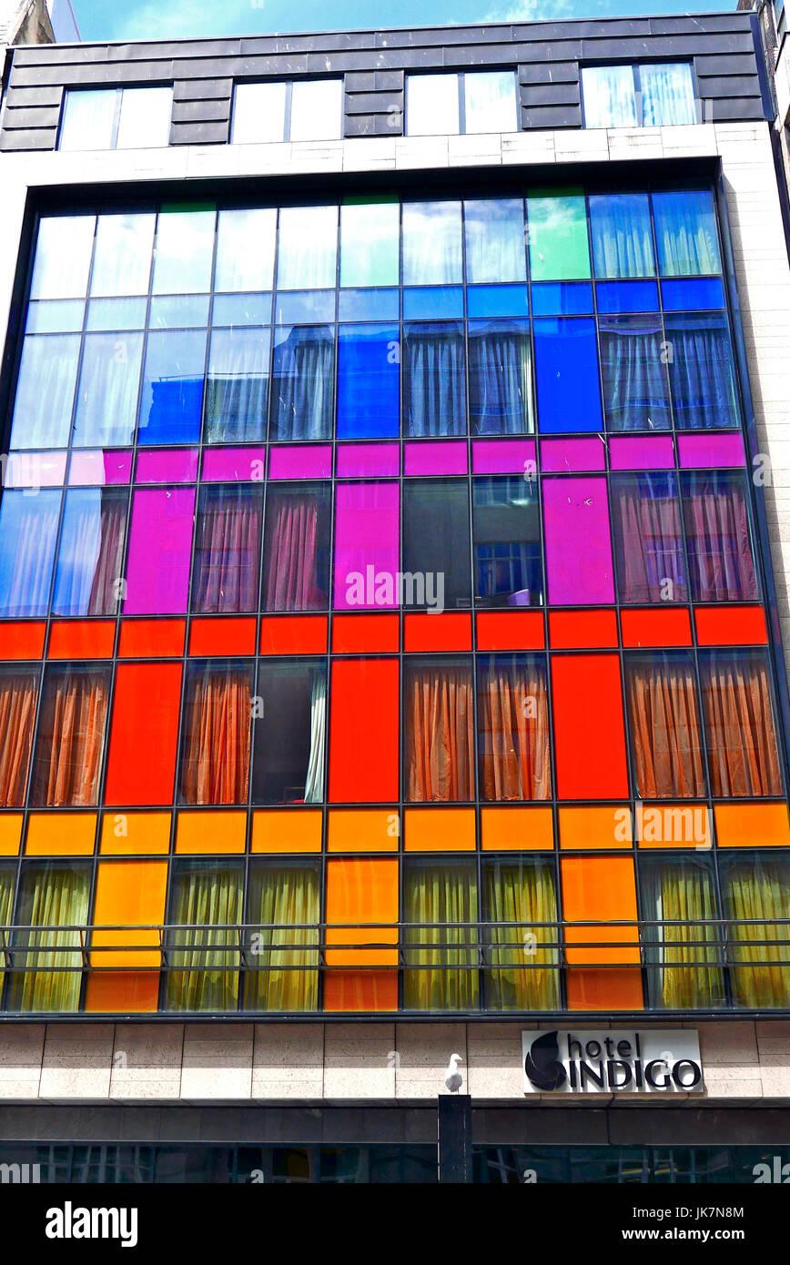 Glass front of the Indigo Hotel,Liverpool,UK - Stock Image