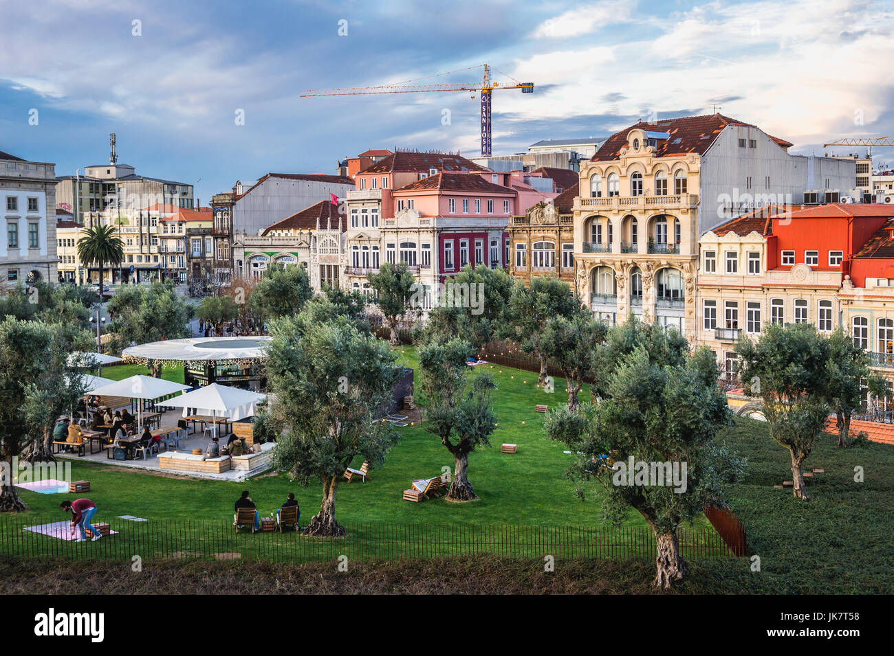 Lisbon Square small park over Passeio dos Clerigos shopping center in Porto city on Iberian Peninsula, second largest - Stock Image