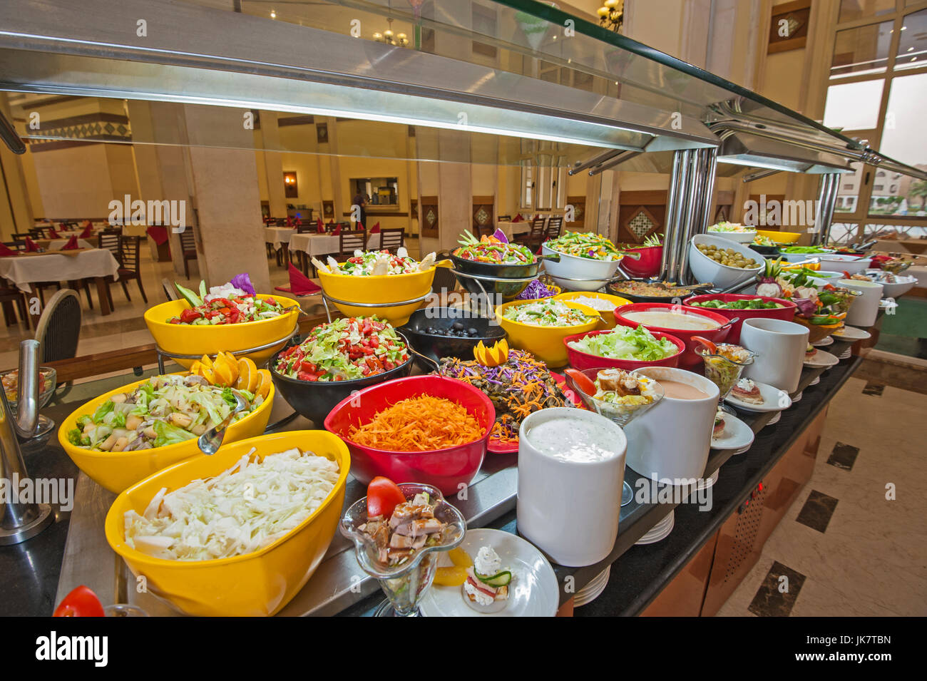 Selection Display Of Salads At A Luxury Hotel Restaurant Buffet Bar Stock Photo Alamy
