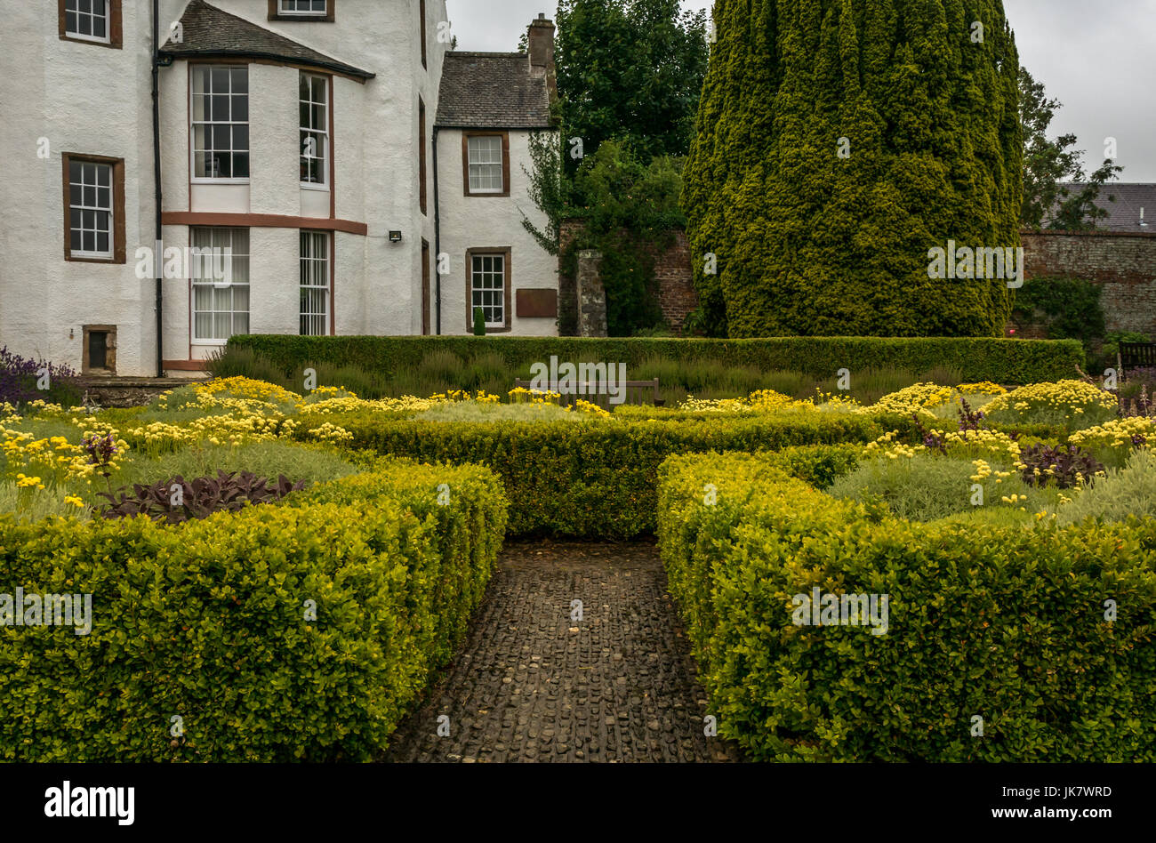 Formal sunken garden and Haddington House, St Mary's Pleasance garden,Haddington, East Lothian, Scotland, UK - Stock Image