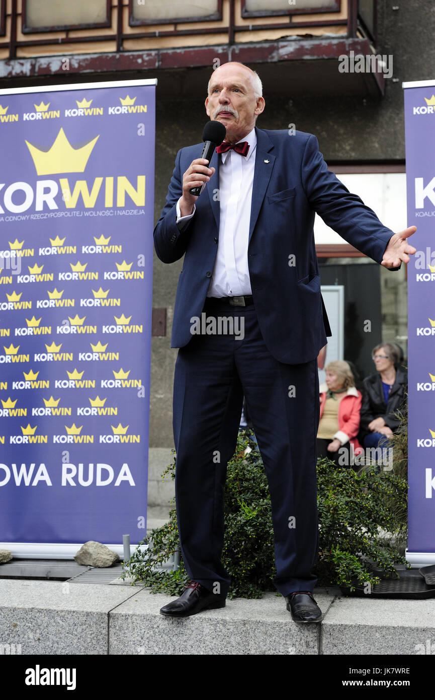 janusz, korwin, mikke, nowa prawica, poland, candidate, president, presidential elections in 2015, Poland, jkm, - Stock Image