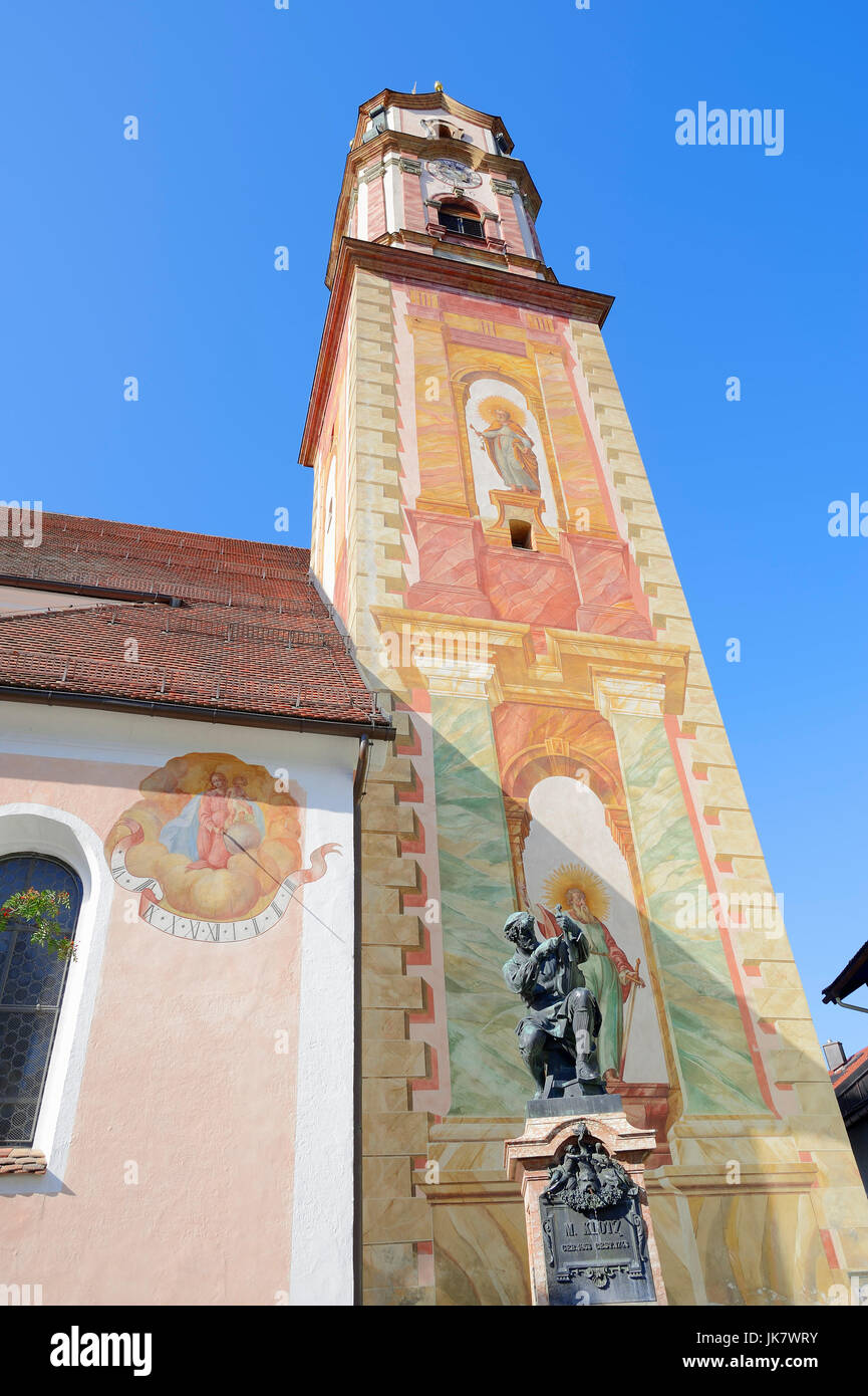 Parish church St. Peter and Paul with paintings and statue of violin maker Matthias Klotz, Mittenwald, Werdenfelser - Stock Image