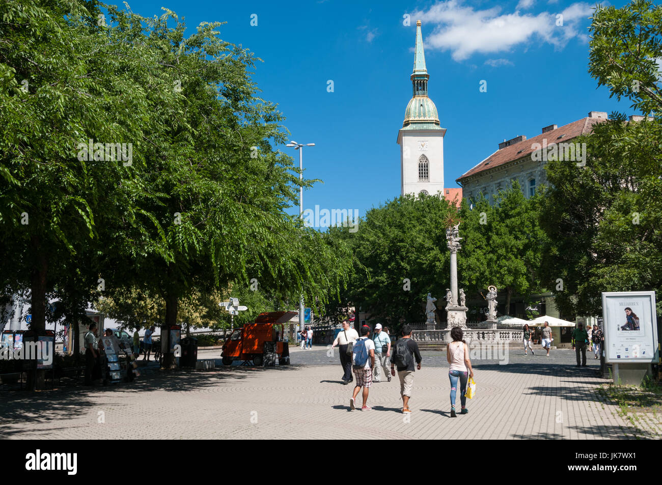 Rybne Square and the St Martin's Cathedral, Bratislava, Slovakia - Stock Image