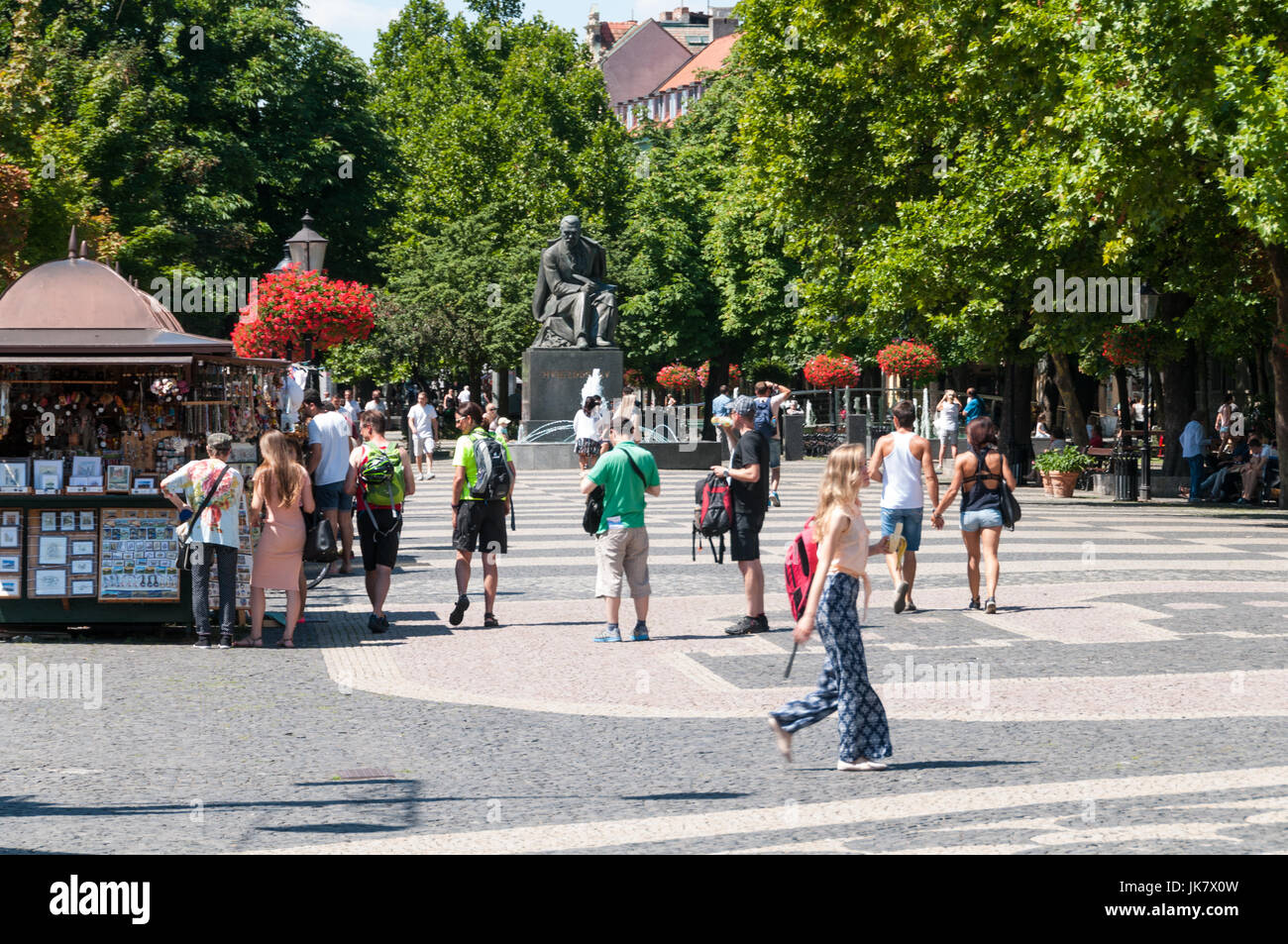 Tourists in Bratislava Old Town, Slovakia - Stock Image