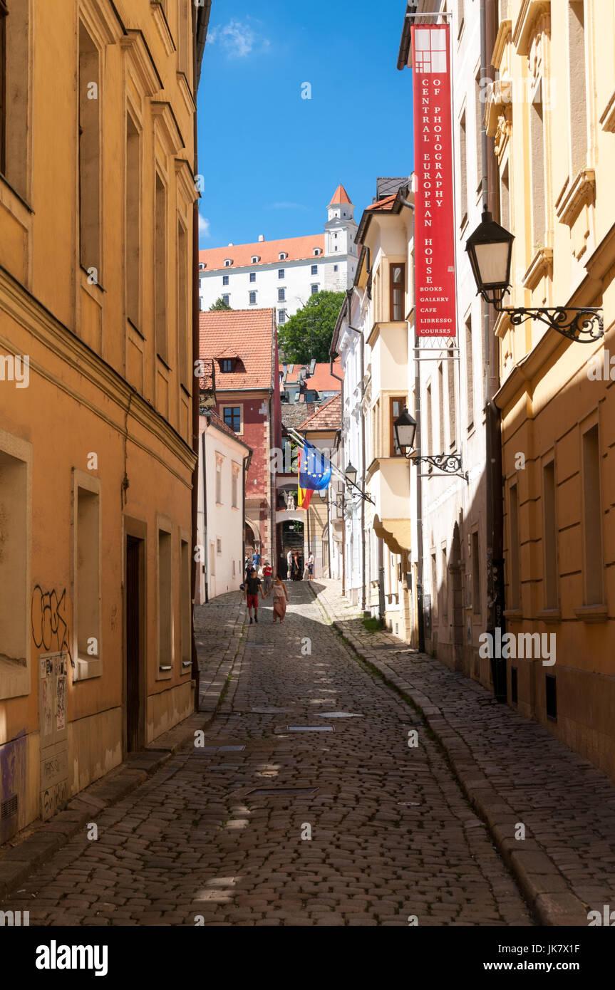 Prepostska street with Bratislava castle in the background, Slovakia - Stock Image
