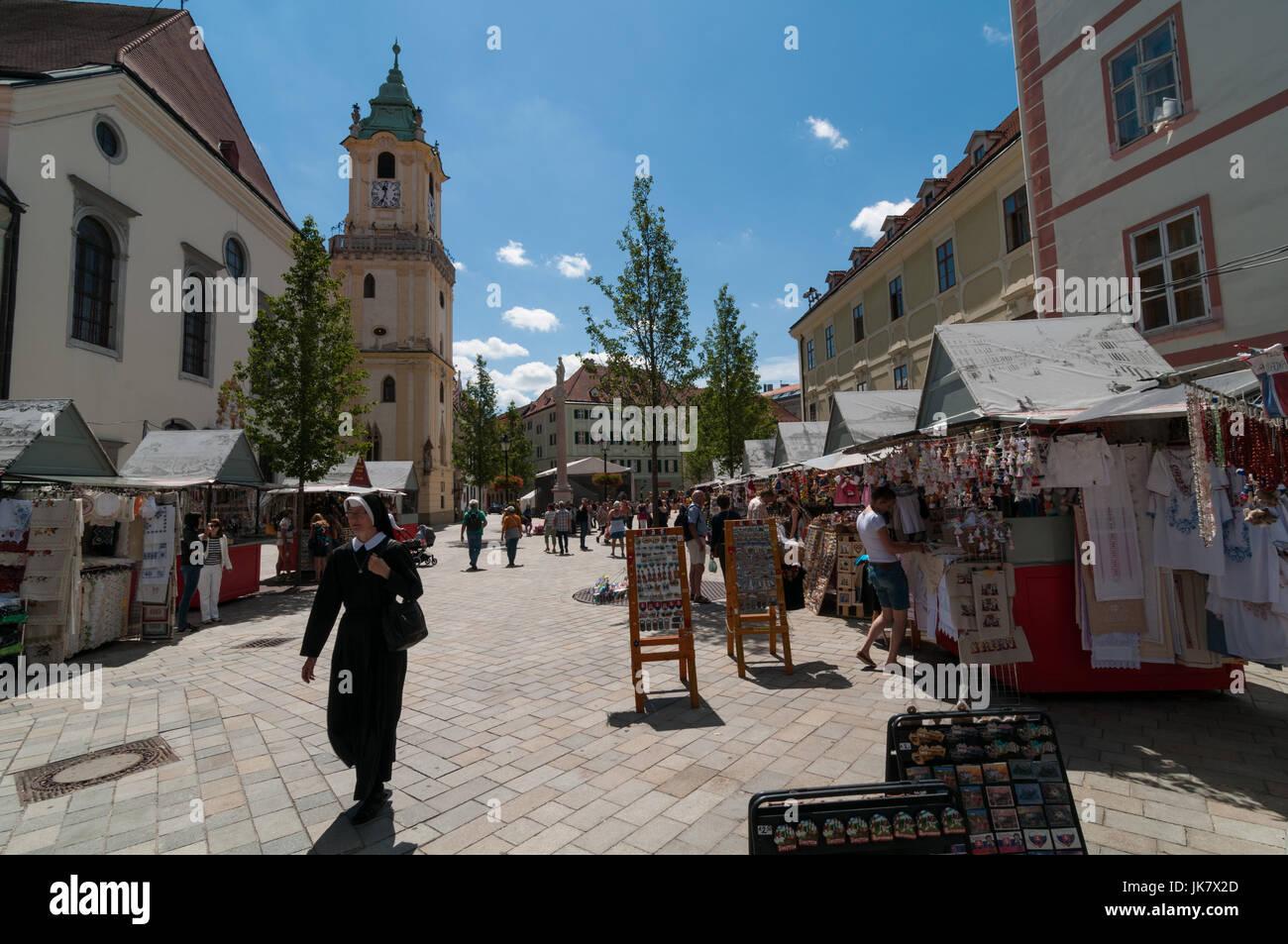 Main Square, Old Town, Bratislava, Slovakia - Stock Image