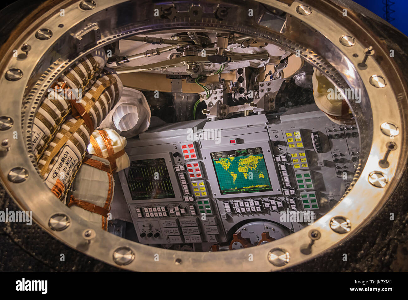 Inside The Soyuz TMA-19M Spacecraft, this is the actual spacecraft that bought Tim Peake, Yuri Malenchenko and Tim - Stock Image